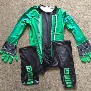 Boys green superhero outfit size large